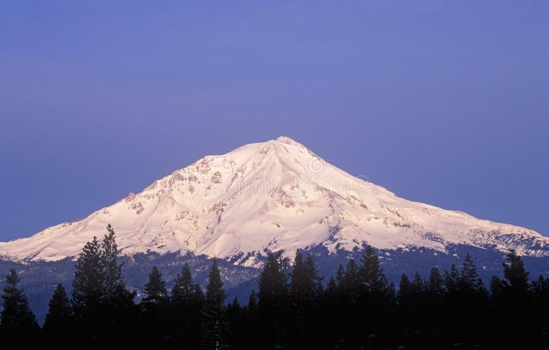 Zet Shasta bij Zonsopgang op, Californië stock afbeeldingen
