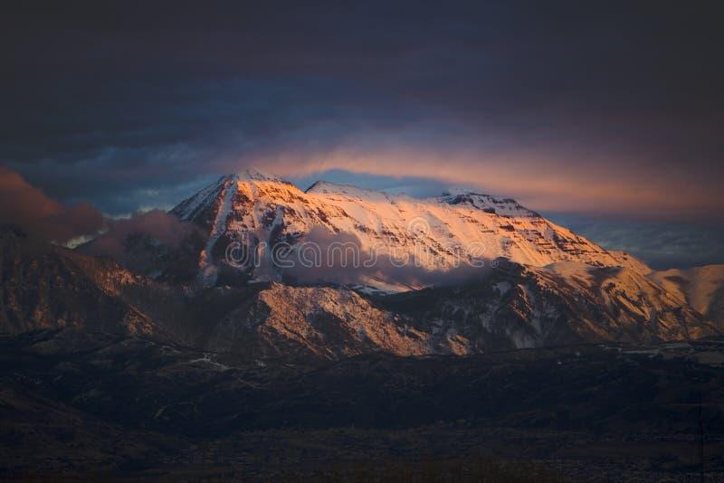 Zet Timpanogos bij Zonsondergang op stock afbeelding