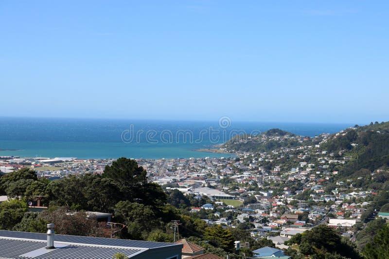 Zet Victoria Wellington NZ aan Lyall-Baai op royalty-vrije stock foto