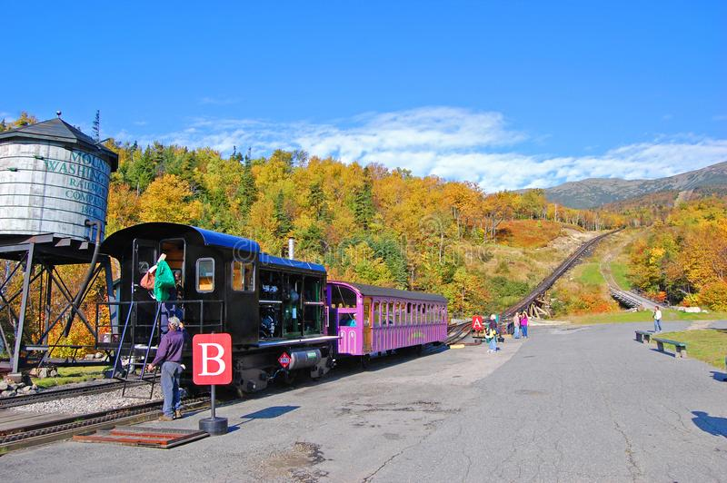 Zet Washington Cog Railroad, New Hampshire op royalty-vrije stock afbeelding