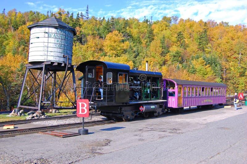 Zet Washington Cog Railroad, New Hampshire op stock afbeeldingen