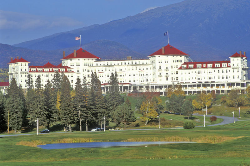 Zet Washington Hotel, Bretton Woods, NH op Route 302 op royalty-vrije stock fotografie