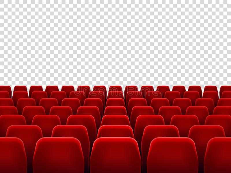 Zetels bij lege filmzaal of zetelstoel voor de ruimte van het filmonderzoek Geïsoleerde rode leunstoelen voor bioskoop, theater o royalty-vrije illustratie