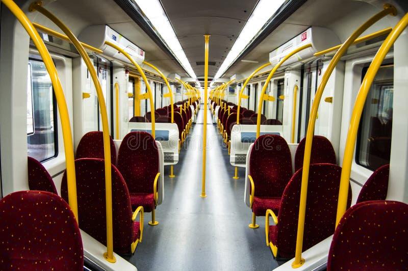 Zetels binnen een moderne trein, Portugal royalty-vrije stock afbeeldingen