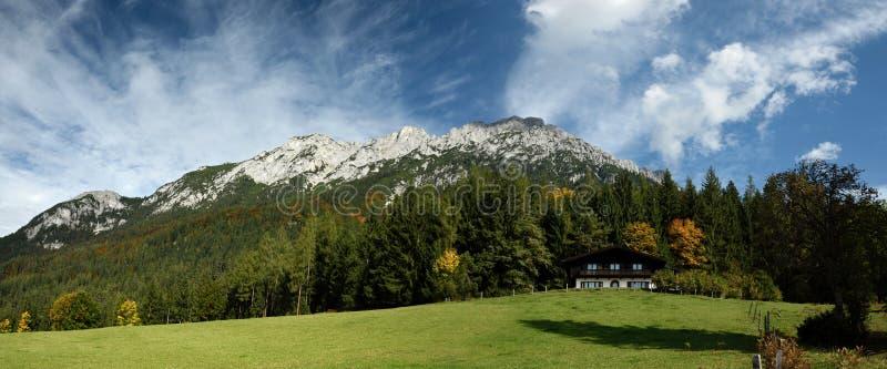 Zettenkaiser & Scheffauer, Wilder Kaiser, Tirol, Austria. Alpine scenery under Zettenkaiser & Scheffauer peaks in Hinterstein of Wilder Kaiser mountains in Tirol stock photography