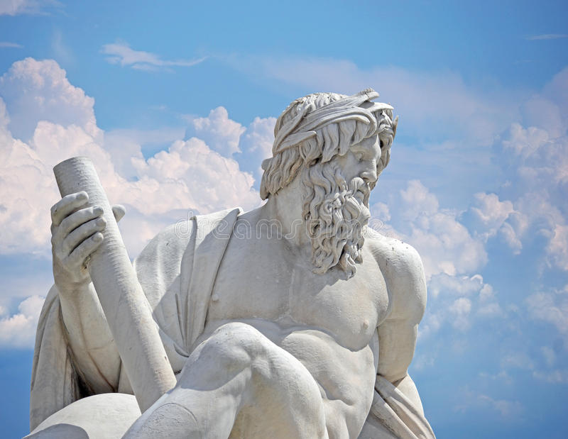Zeus against blue sky, detail of Italy Rome Navona square four rivers fountain Rome stock photo