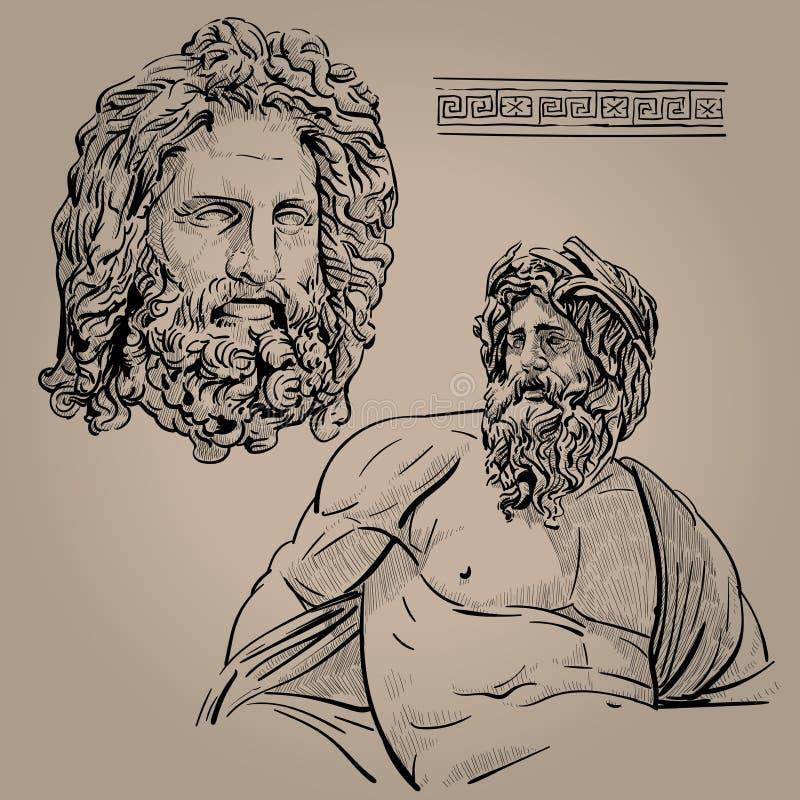 zeus Förlage av Olympus Gud av himlen, blixten, åskan, lagen, beställningen och rättvisan Digital skissar handteckningsvektorn Il vektor illustrationer