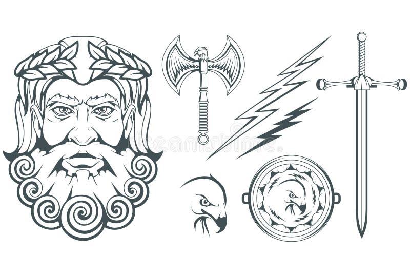 Zeus - gammalgrekiskaguden av himmel, åska och blixt grekisk mythology Dubbelsidig yxa, labrys och örn Olympiska gudar vektor illustrationer