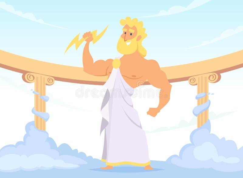 Zeus Greek forntida gud av åska och blixt stock illustrationer