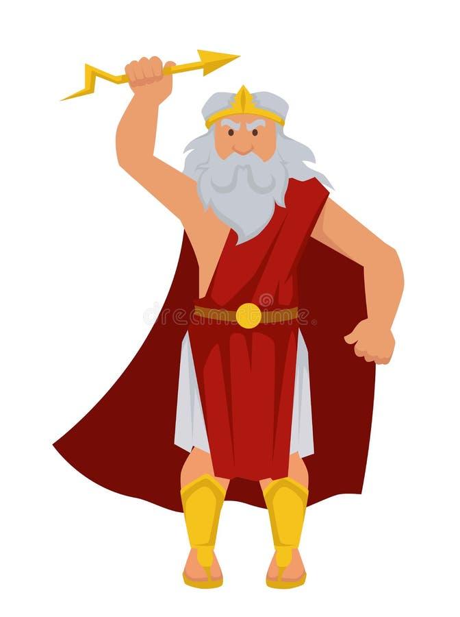 Zeus Greek God isolerade den äldre mannen för det manliga teckenet med blixt i hand royaltyfri illustrationer