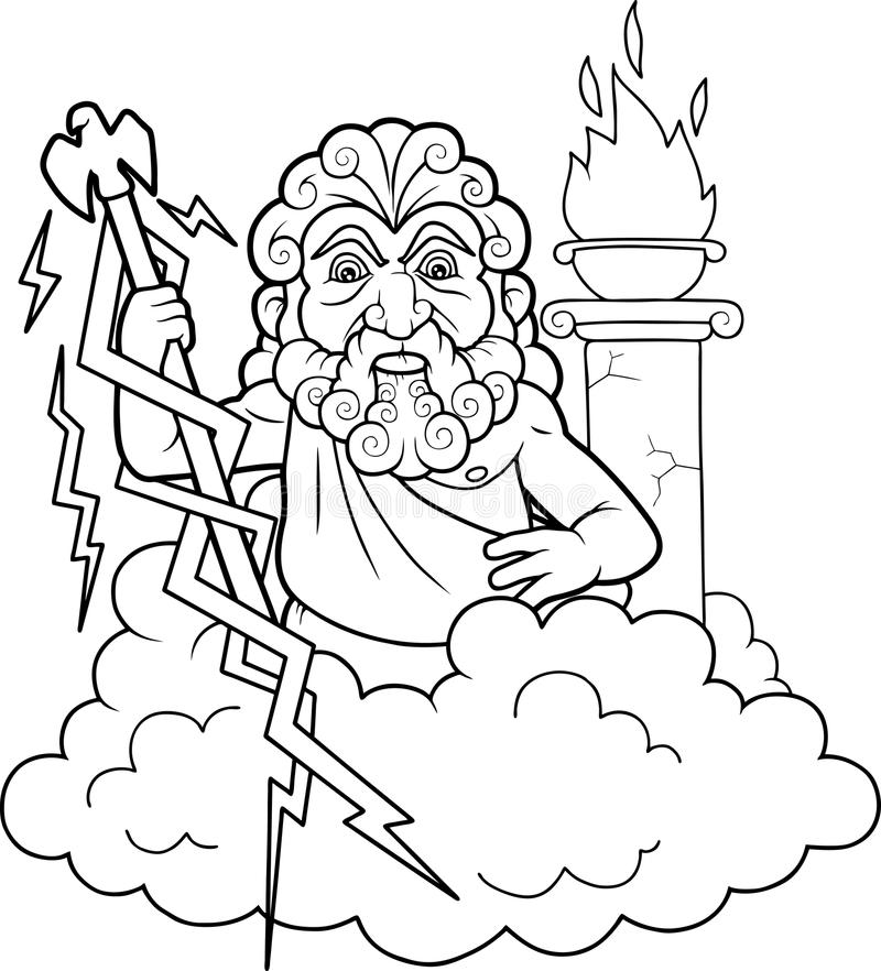 Zeus sta andando sparare il fulmine royalty illustrazione gratis
