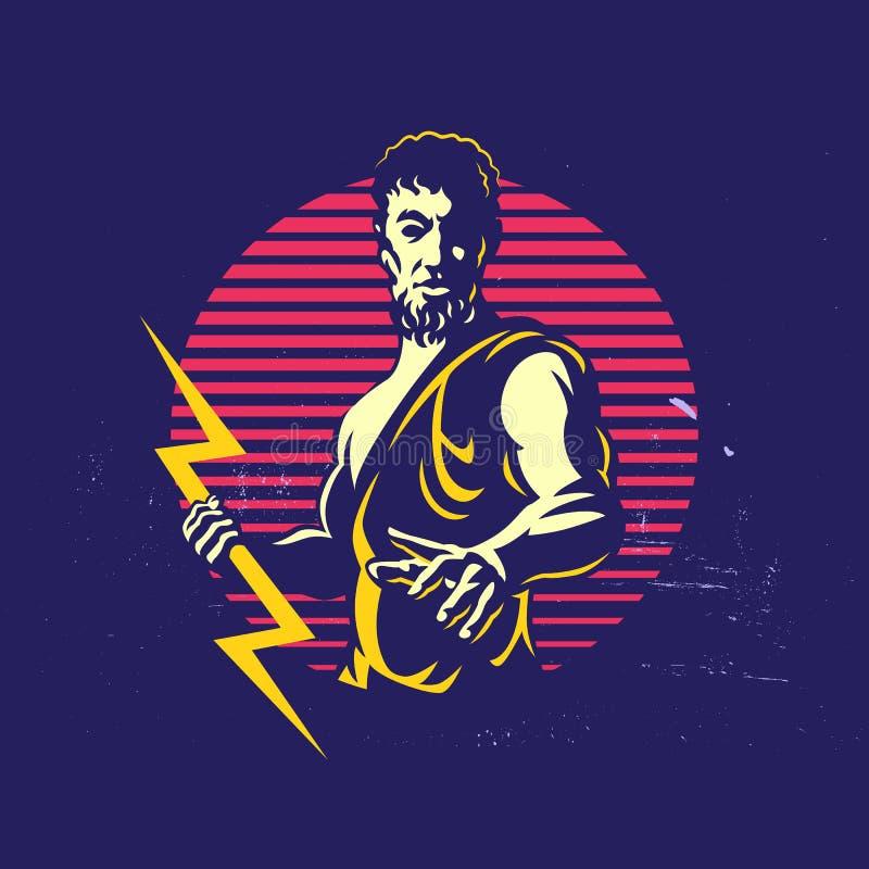Zeus Thunderbolt Gods Mascot Logo mall stock illustrationer