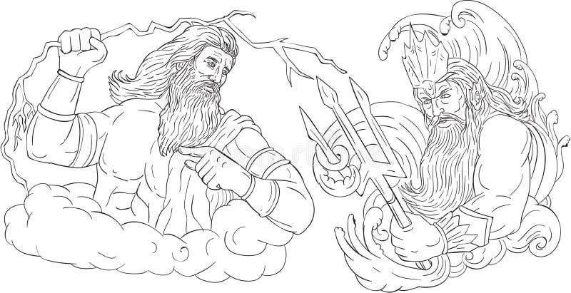Zeus Vs Poseidon Black och vit teckning vektor illustrationer