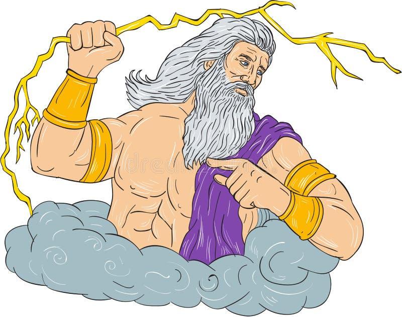 Zeus Wielding Thunderbolt Lightning Drawing vektor illustrationer