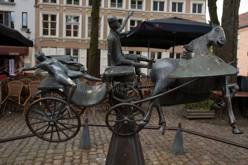 Zeus Zeus Leda, Prometheus-En Pegasus Bezoeken Brugge arkivbilder