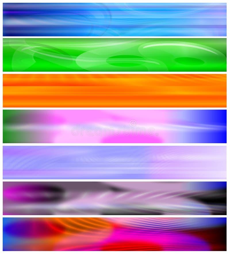 Zeven banners of websiteKopballen vector illustratie
