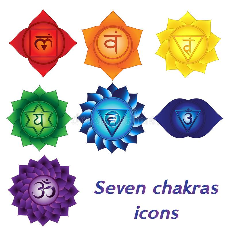 Zeven chakraspictogrammen, kleurrijke geestelijke tatoegeringen De symbolen van de Kundaliniyoga vector illustratie