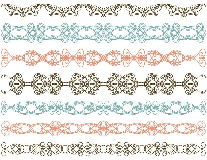 Zeven decoratieve lijnen,    stock illustratie