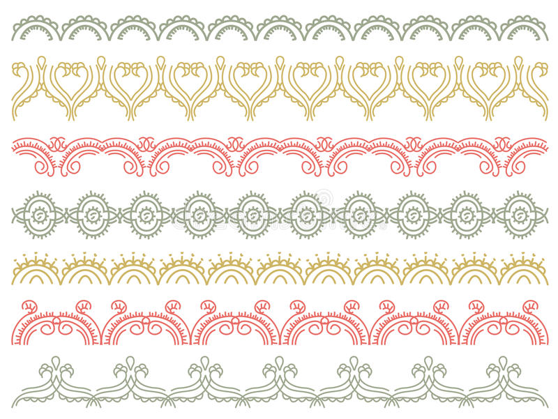 Zeven decoratieve lijnen, vector royalty-vrije illustratie