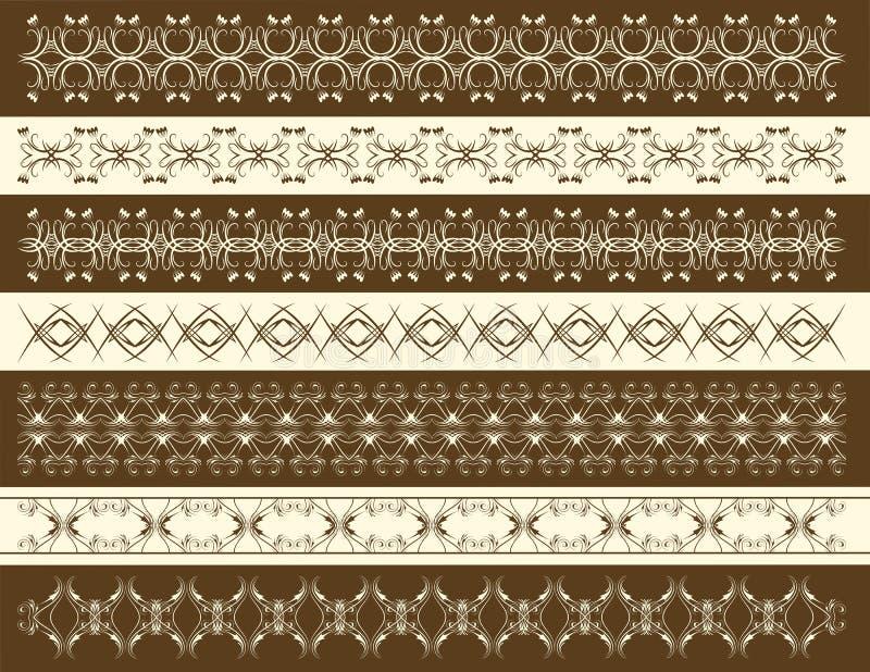 Zeven decoratieve lijnen, vector stock illustratie