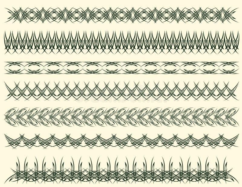 Zeven decoratieve lijnen, vector vector illustratie