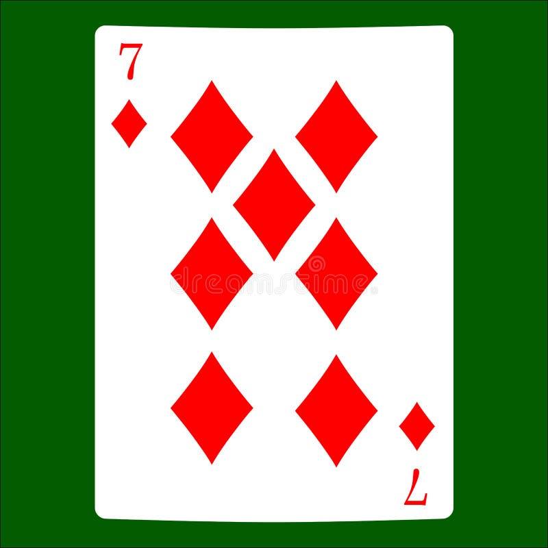 Zeven diamanten Het pictogramvector van het kaartkostuum, de vector van speelkaartensymbolen royalty-vrije illustratie