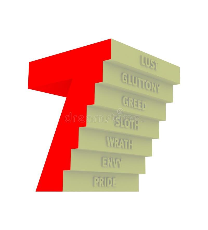 7 zeven Dodelijke Zondenillustratie vector illustratie