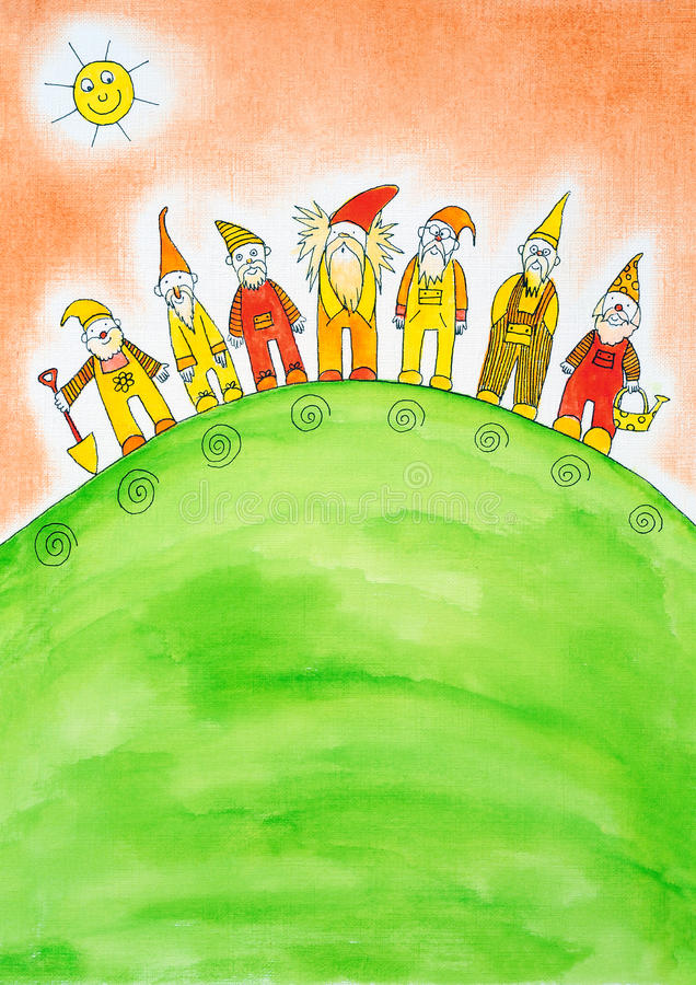 Zeven dwergen, de tekening van het kind, waterverf het schilderen royalty-vrije illustratie
