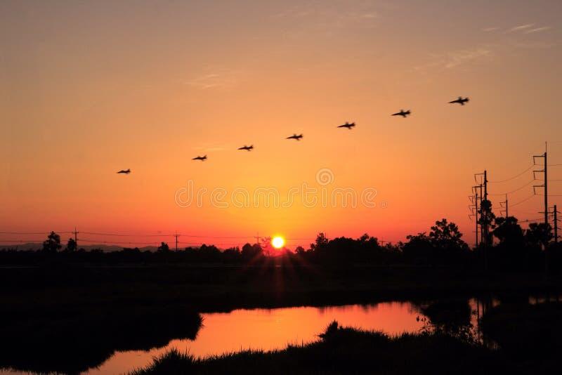 zeven gevechtsvliegtuigen stock foto