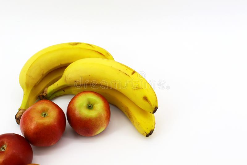 Zeven gezonde vruchten op witte achtergrond stock fotografie