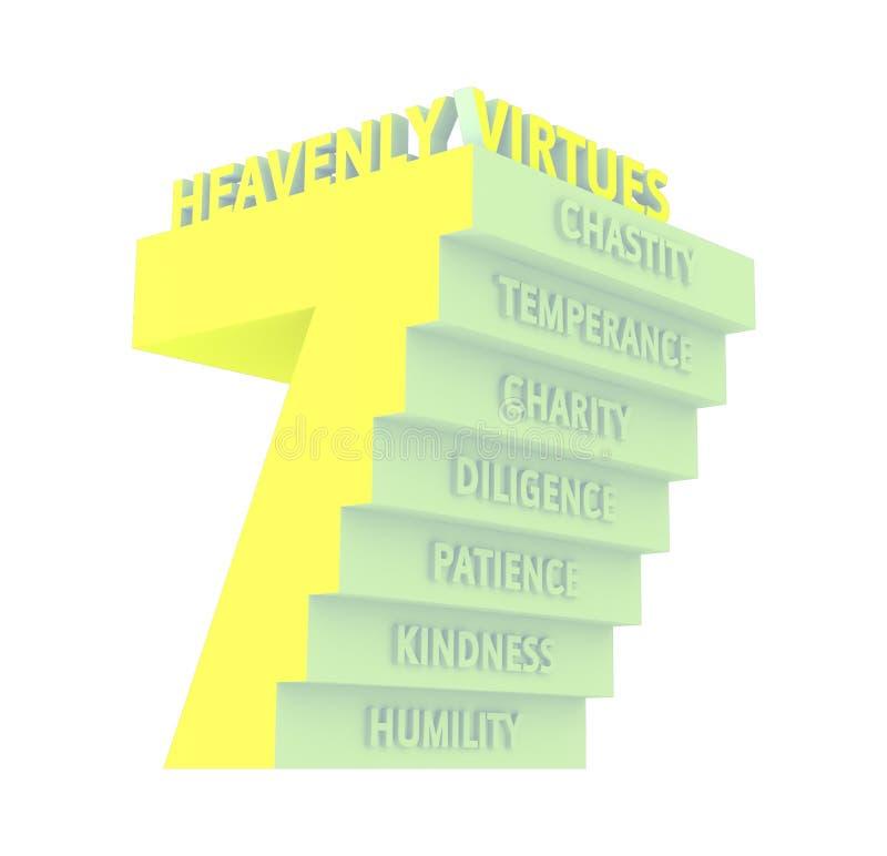 7 zeven Hemelse Deugdenillustratie royalty-vrije illustratie