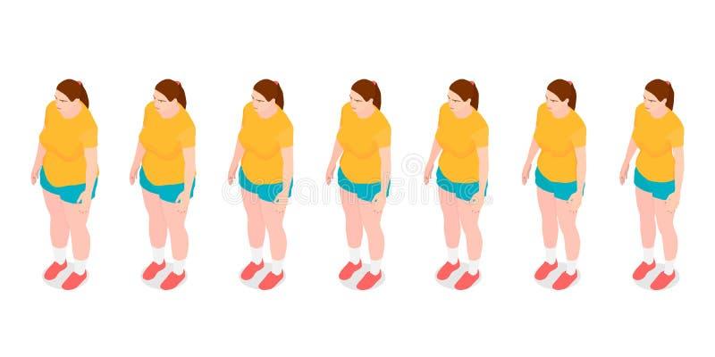 Zeven identieke meisjes tonen het proces om gewicht te verliezen royalty-vrije illustratie