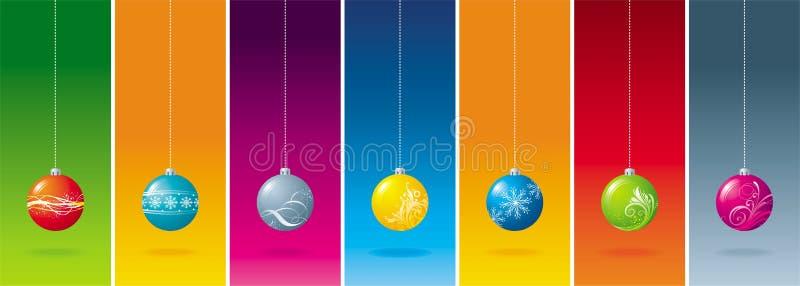 Zeven Kerstmisbal royalty-vrije illustratie