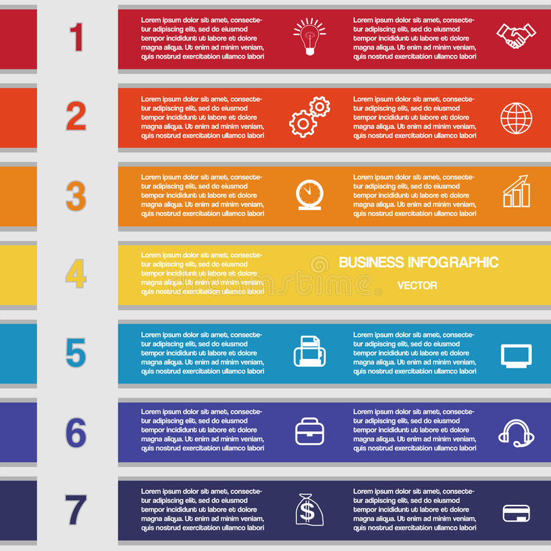 Zeven kleurenstroken, malplaatje voor infographics royalty-vrije illustratie