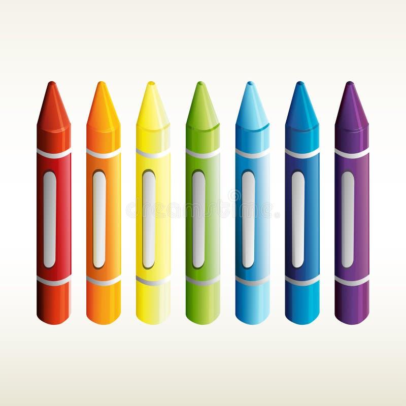 Zeven kleurpotloden in verschillende kleuren stock illustratie