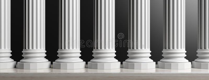 Zeven marmeren pijlers op zwarte achtergrond 3D Illustratie royalty-vrije illustratie