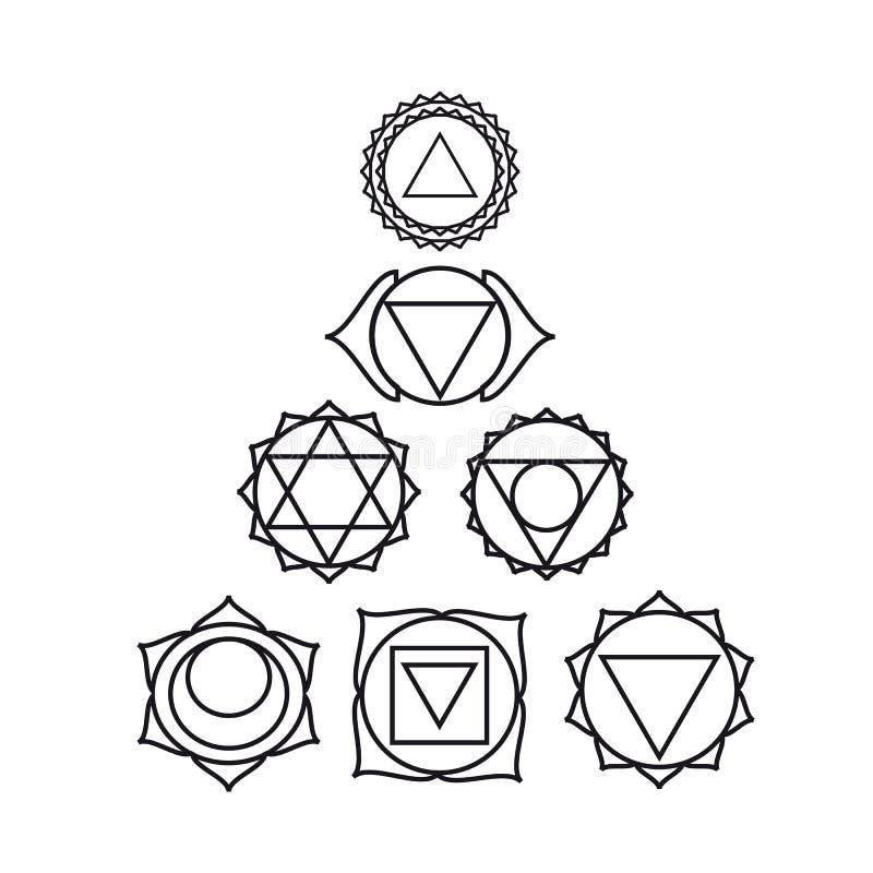Zeven menselijke chakras, vectorillustratie vector illustratie