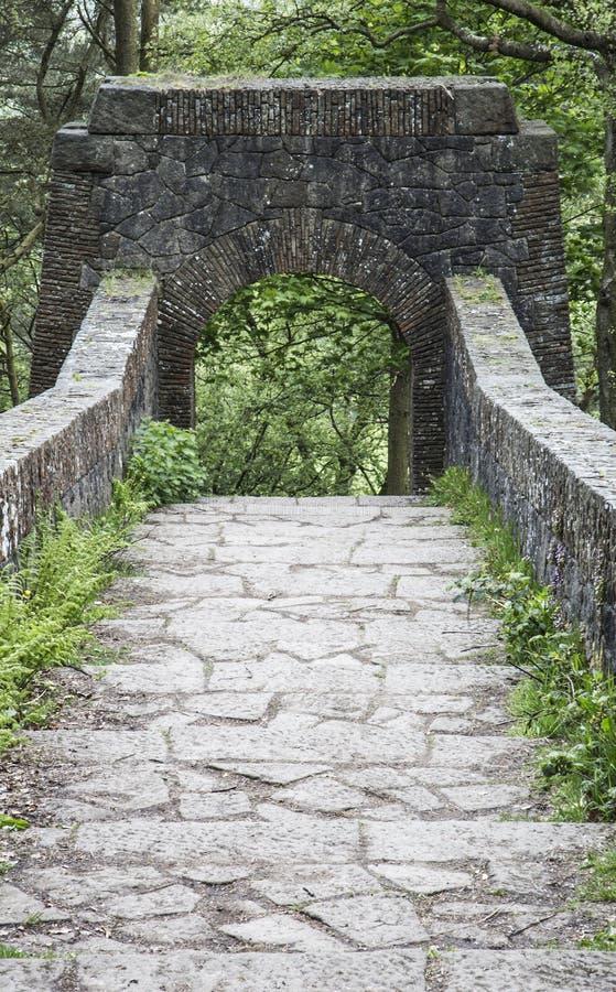 Zeven overspannen brug bij de Terrasvormige Tuinen van Rivington royalty-vrije stock afbeeldingen