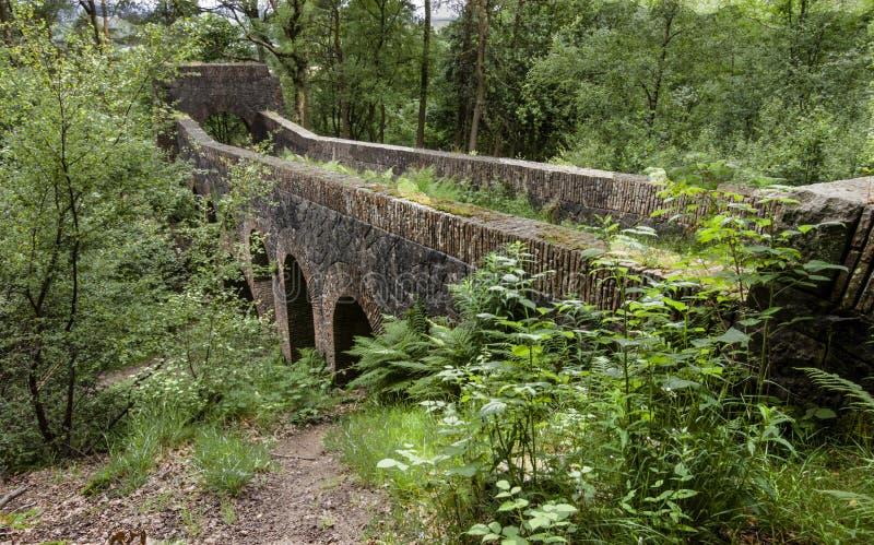 Zeven overspannen brug bij de Terrasvormige Tuinen van Rivington royalty-vrije stock afbeelding