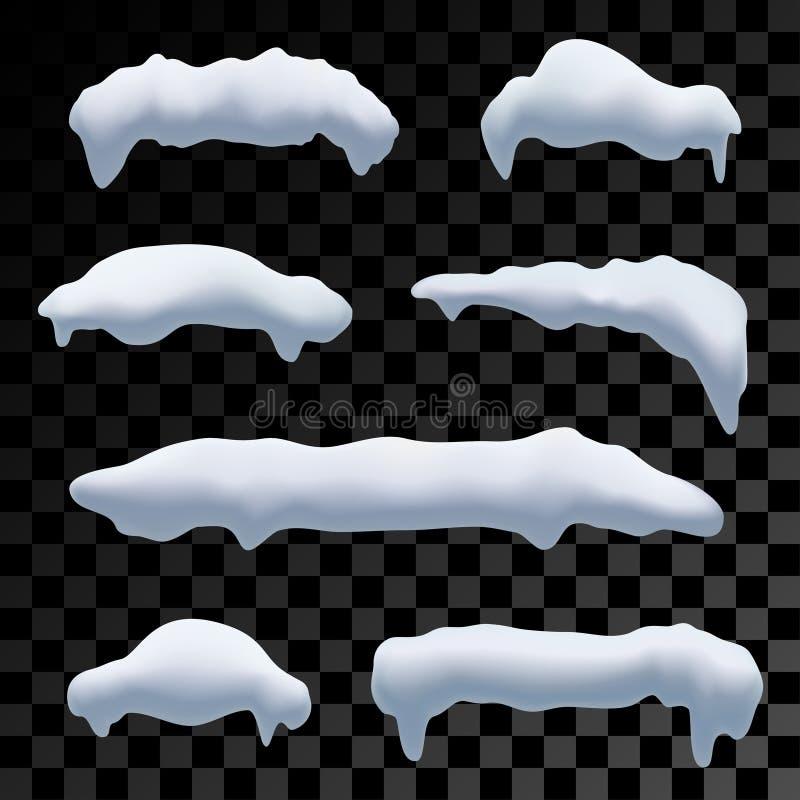 Zeven sneeuwkappen, sneeuwbal en sneeuwbanken voor de winterdecoratie royalty-vrije illustratie
