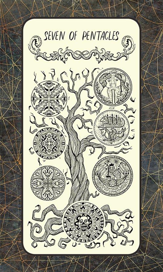 Zeven van pentacles De Magische kaart van het Poorttarot vector illustratie