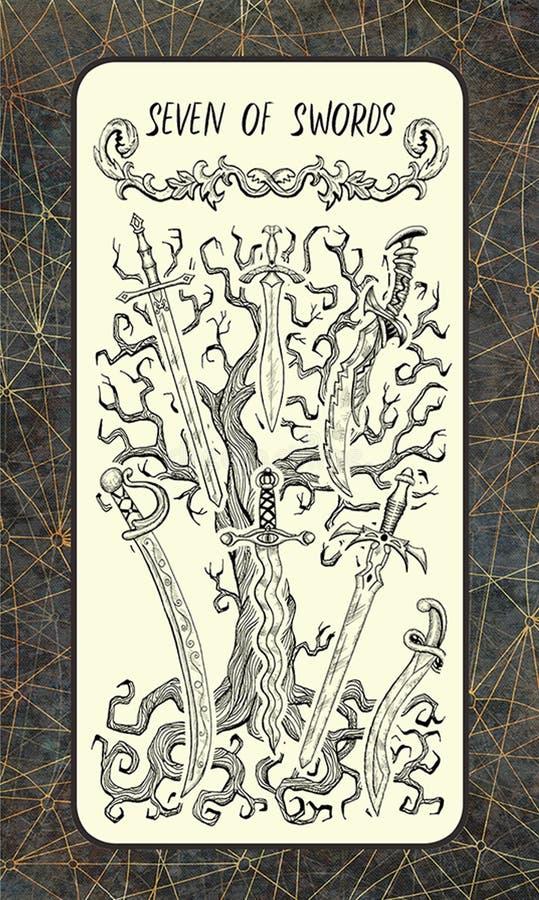 Zeven van zwaarden De Magische kaart van het Poorttarot vector illustratie
