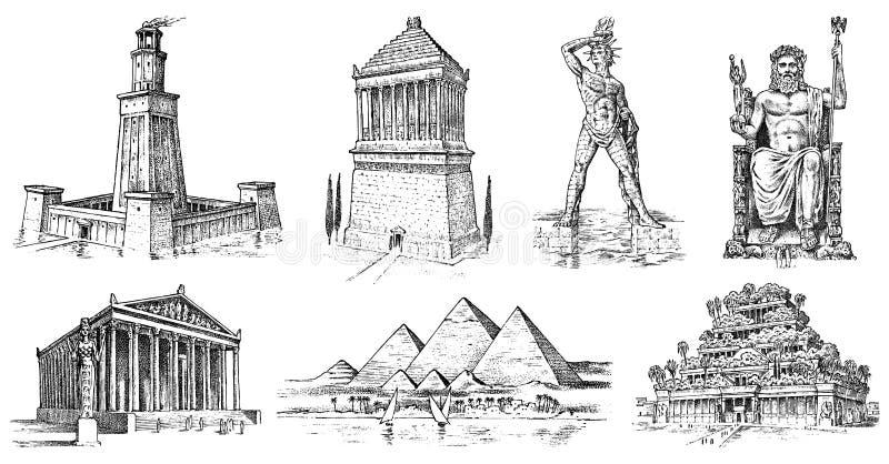 Zeven zijn van de Oude Wereld benieuwd Piramide van Giza, Hangende Tuinen van Babylon, Tempel van Artemis in Ephesus, Zeus bij vector illustratie