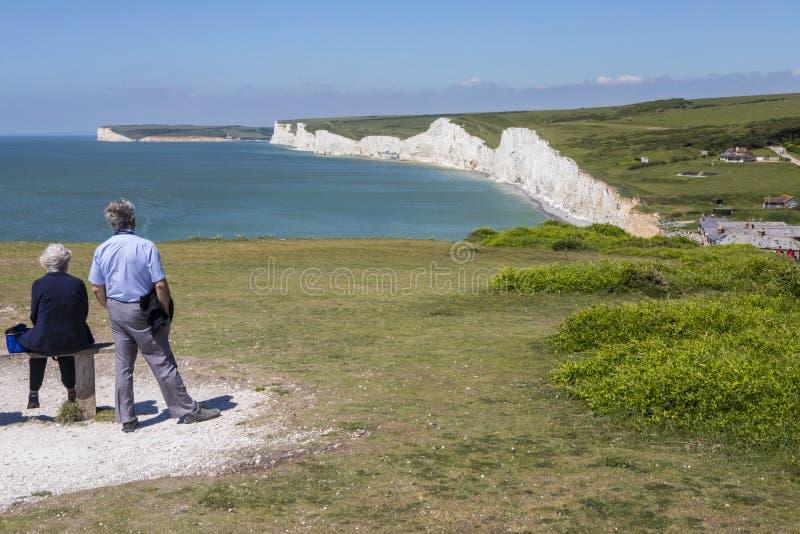 Zeven Zustersklippen in Oost-Sussex stock afbeelding
