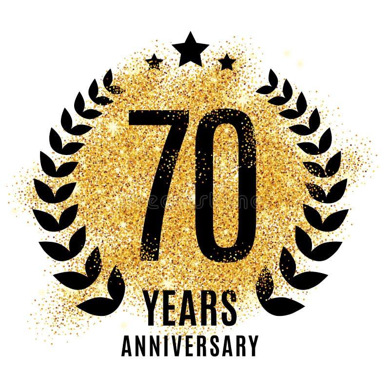 Zeventig jaar gouden verjaardags stock illustratie