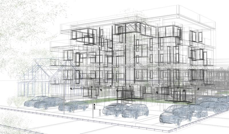 Zewnętrzni budynków wireframes, projekta rendering, architektura ilustracja wektor