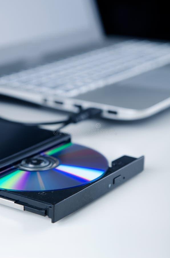 Zewnętrznie dyska optycznego pisarz Ścisły przyrząd łączący przez USB p zdjęcia stock