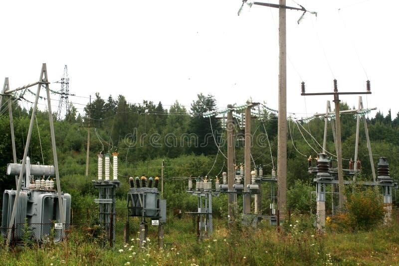 Zewnętrznie i wewnętrznej władzy elektryczny wyposażenie Wysokiego woltażu elektryczna podstacja dla regulacyjnego prądu i woltaż obraz royalty free
