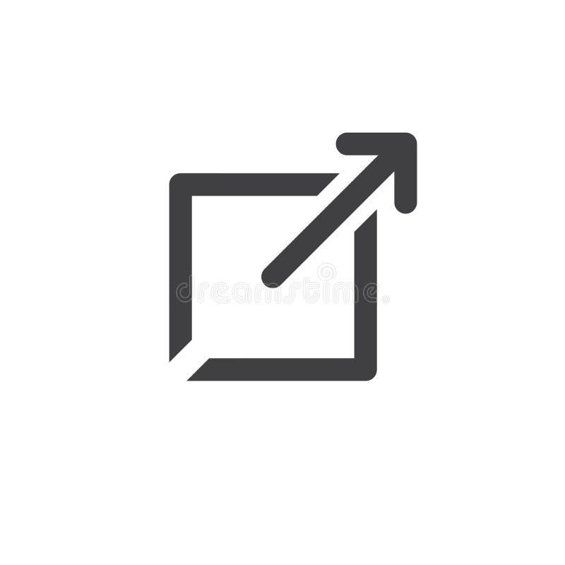 Zewnętrznie połączenia ikona otwiera nowego okno w UX UI app ilustracja wektor