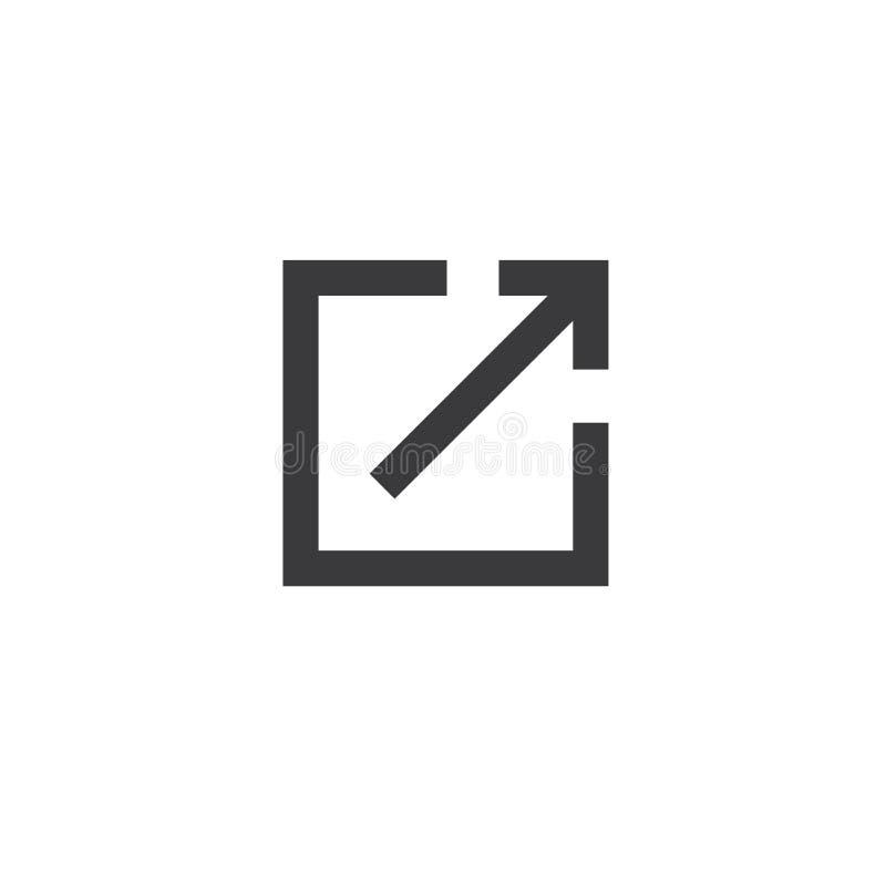 Zewnętrznie połączenia ikona - użytkownik zna one opuszcza app ilustracja wektor